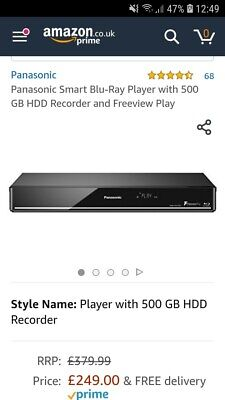panasonic smart blue-ray with 500GB HDD recorder with freeview play