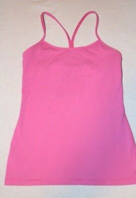 3defebc7407e3 LULULEMON Power Y Tank Top w Shelf Bra Medium Pink size 8 Yoga Gym Spin Run