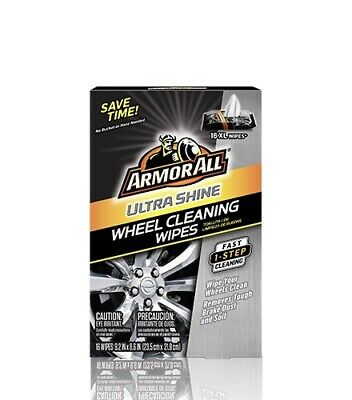 Armor All Ultra Shine Wheel Cleaning Wipes 16 XL Wipes, Quick & Easy Wheel Shine