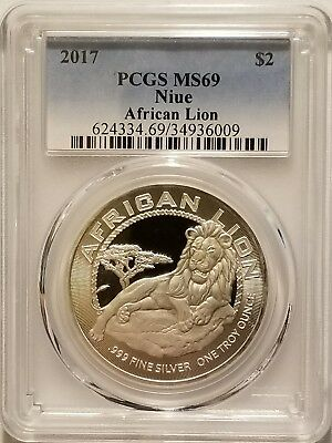 2017 Niue African Lion $2 Coin 1 oz .999 Fine Silver Bullion PCGS MS69