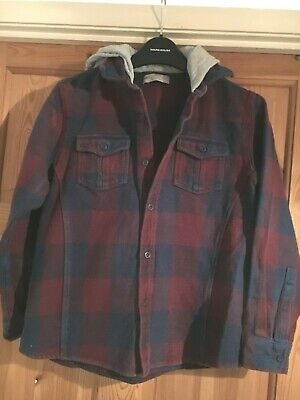 M&S INDIGO Boys Deep Red/Navy Checked Thick Cotton Hooded Shirt/Jacket Age 11yrs