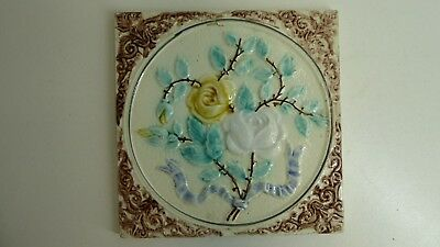 Antique Victorian Majolica Tile Embossed Floral & Ribbon  Pattern