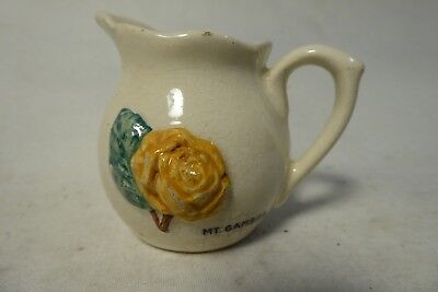 Rose Noble Jug Embossed Yellow Rose Mt Gambier Stamped Base Australia Pottery