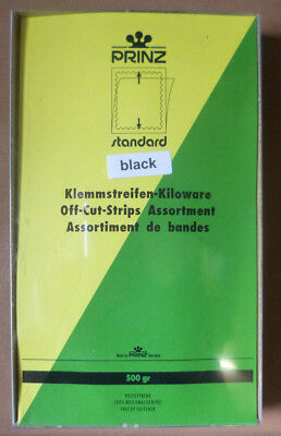 PRINZ Standard STAMP MOUNTS BOX 500gms BLACK Backing Off Cut Strips Assortment