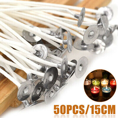 50Pcs Candle Wicks Cotton Core Pre-Waxed With Sustainers For Candle Making 15cm