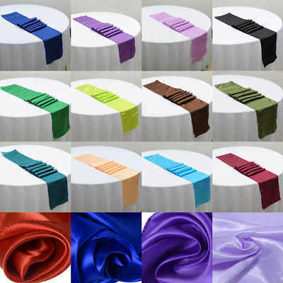 """12""""x108"""" Satin Table Runners Wedding Dinner Party Banquet Tablecloth Decorations"""