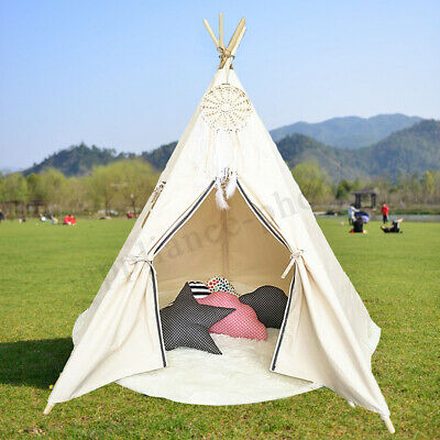 Large White Princess Girl Teepee Cotton Canvas Kids Play Tent Toy Indoor Outdoor
