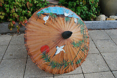 Vintage 1960's Chinese Rice Paper Hand Made & Painted Umbrella