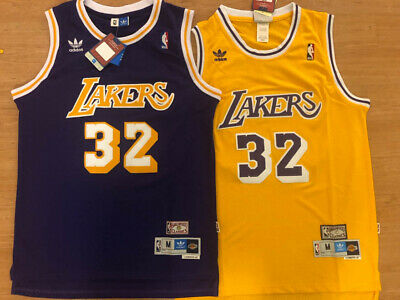 Magic Johnson  32 Vintage Throwback Los Angeles Lakers PRPLE YLLW Men s  Jersey 6332e67b9