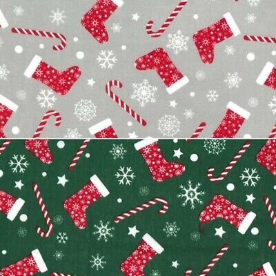Polycotton Fabric Christmas Festive Winter Stockings Candy Canes Craft Material