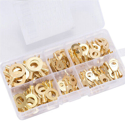 100 Pcs Copper Lugs Ring Automotive Cable Terminal Contacts Wire Connector Set