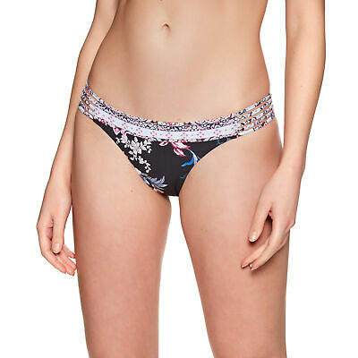 Seafolly Multi Rouleau Brazilian Womens Beachwear Bikini Bottoms Black