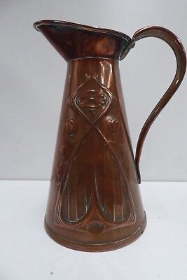 Antique Arts Crafts Art Nouveau Secessionist Js &S Copper Liberty Pattern Jug