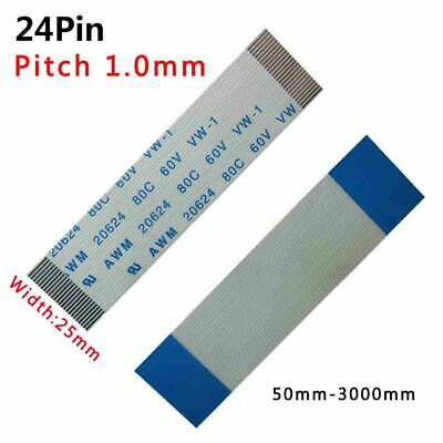 Pitch 1.0mm 24-Pin FFC/FPC Flexible Flat Cable 80C 60V VW-1 W:25mm L:50mm-3000mm