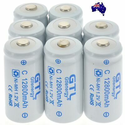 8 pcs C Size 12800mAh Ni-MH 1.2V Rechargeable Battery Cell Ultracell For Toy RC