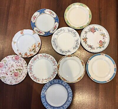 Job Lot 9: 10 Mismatching Pretty Vintage China Dinner Plates