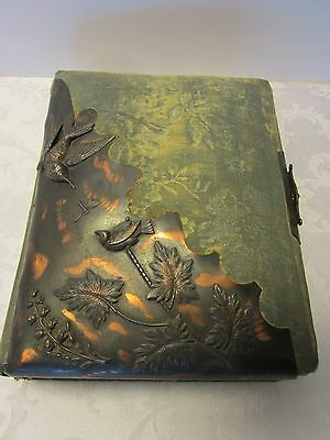 ART NOUVEAU PHOTO ALBUM COPPER 3D EMBOSSED DOVES BIRDS LILIES DRAGONFLY 1900,s