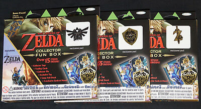 3x The Legend of Zelda Collector Fun Box Trading cards, Tags, Pins.. *UK SELLER*