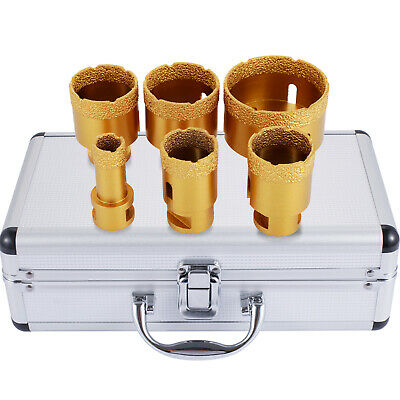 6 PCS Diamond Hole Saw Set Drill Core Bits Marble Vacuum Faster Granite