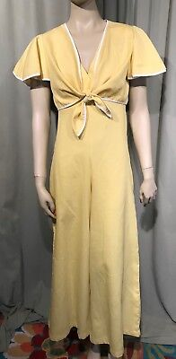 Vintage 70's Sears Yellow 2pc Jumpsuit Palazzo Pants Bust 32 Hips 40 Inseam 26.5