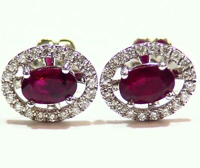 1.13CT 14K Gold Natural Ruby Round Cut Diamond Stud Halo Anniversary Earrings