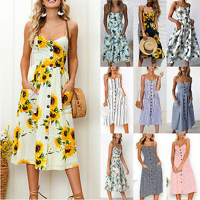 Womens Summer Sunflower Floral Print Midi Dress Strappy Pockets Buttons Cocktail
