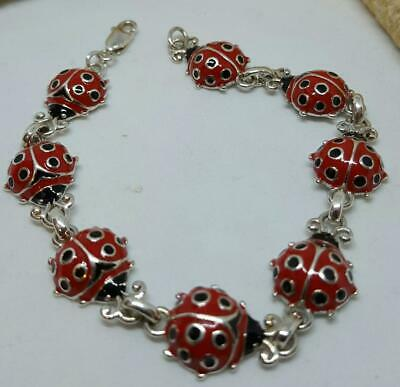"ADORABLE  925 Sterling Silver ENAMEL RED  LADY BUG LINK BRACELET 7"" ESTATE"