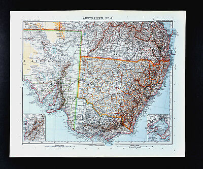 1911 Stieler Map - Australia  Victoria New South Wales Sydney Melbourne Adelaide