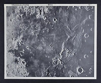 1960 Lunar Moon Map Photo Tranquillitatis B4-a Tranquility Bay Apollo Lick Obser