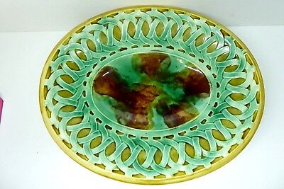 Antique Majolica Arts & Crafts Majolica Pottery Bread Plate