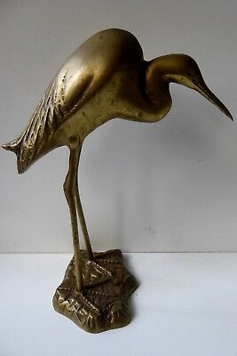 Vintage Brass Stork Crane Statue Retro Antique Asian Decor