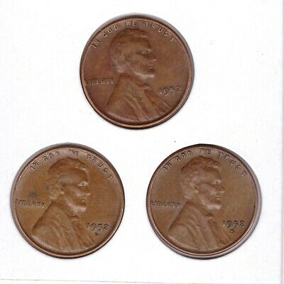 1952 P D S Lincoln Cent Wheat Back Penny 3 coins