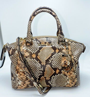 dfcb97f3248b Michael Kors Riley Small Satchel Python Embossed Leather Shoulder Hand Bag  NWT