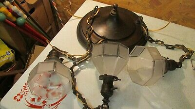Antique Dark Brass Chandelier Square Chain & 3 Shades
