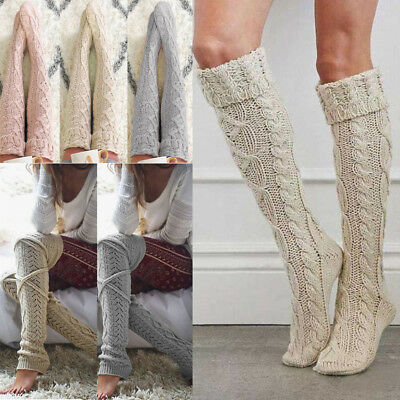 Winter Women Cable Knit Over Knee Long Boot Socks Thigh High Warm Stocking Hot