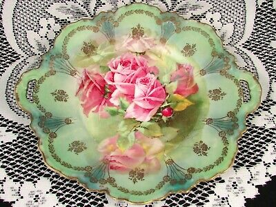 Zs & Co. Bavaria Pink Roses Signed Pearlescent Gold Gilt Floral Cake Plate
