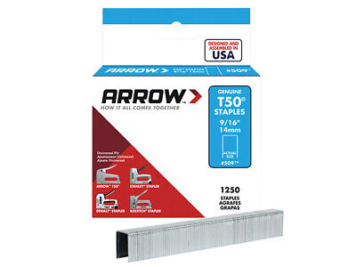 Arrow T50 Staples 14mm (9/16in) Box 1250 ARRT50916S