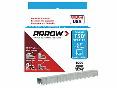 Arrow T50 Staples Stainless Steel 506SS 10mm (3/8in) Box 1000 ARRT5038SS