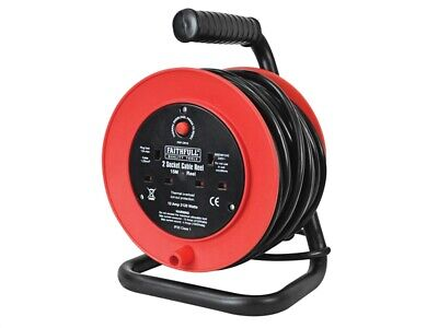 Faithfull Power Plus Open Drum Cable Reel 240V 15 Metre 13 Amp 2 Socket FPPCR15