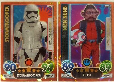 FORCE AWAKENS  FORCE ATTAX EXTRA Limited Edition Cards NIEN NUNB + STORMTROOPER