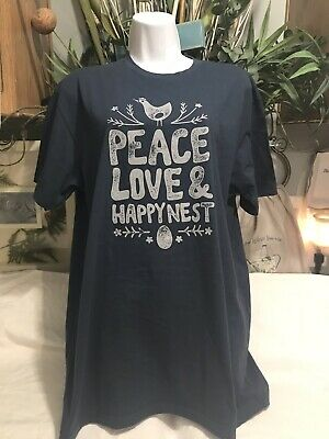 8a1d51a8 Next Level Women's Peace and Love Happy Nest Tee Shirt Top Sz L Large Cute  Tee