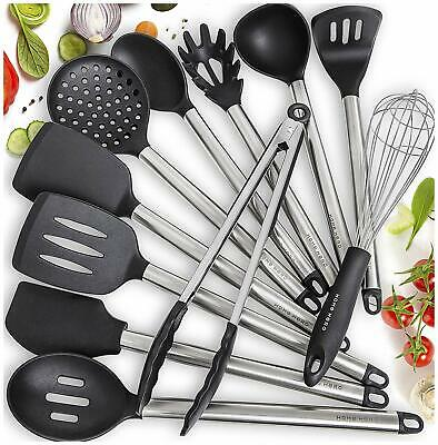 11 SILICONE COOKING Utensils Kitchen Utensil set - Stainless ...