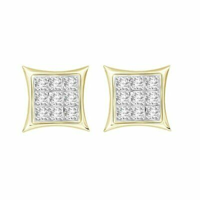 1/20 cttw Round Diamond Yuva Kite Screw Back Stud Earrings 10K Yellow Gold