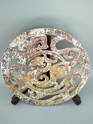 Chinese Exquisite Hand-carved old jade dragon BI 300mm