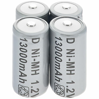 2/4pcs D Size D-Type 13000mAh 1.2V Ni-MH Rechargeable Battery  Grey AU Stock