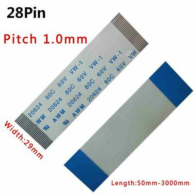 Pitch 1.0mm 28-Pin FFC/FPC Flexible Flat Cable 80C 60V VW-1 W:29mm L:50mm-3000mm