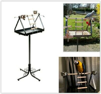 Large Parrot Play Gym Stand Free Standing Perch Classic Style Iron Dirt Tray UK