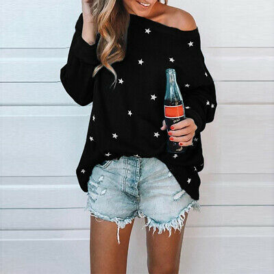 Women Sexy Off Shoulder Casual Shirt Long Sleeve Star Print Loose Blouse Tops LG