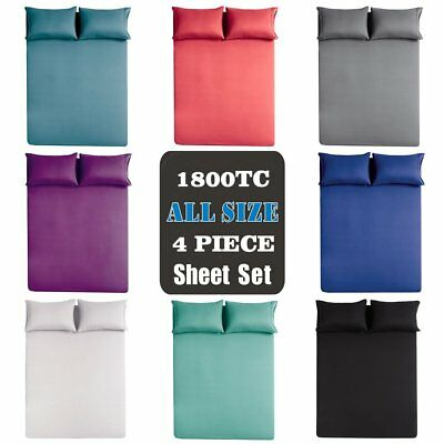 1800TC Ultra SOFT 4 Pieces FLAT FITTED Sheet Set Single/Double/Queen/King Bed AU