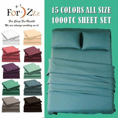 4PCS Bed 1800TC Ultra SOFT Flat Fitted Sheets Set Single/Double/Queen/King Size